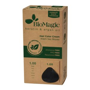 BioMagic Keratin & Argan Oil Hair Color Cream – 1.0 Black