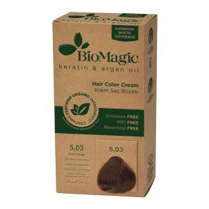 BioMagic Keratin & Argan Oil Hair Color Cream – 5.03 Light Natural Golden Brown