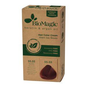 BioMagic Keratin & Argan Oil Hair Color Cream – 55.55 Deep Dark Red