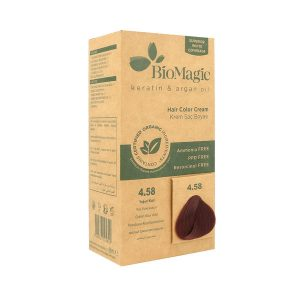 BioMagic Keratin & Argan Oil Hair Color Cream – 4.58 Red Violet Auburn