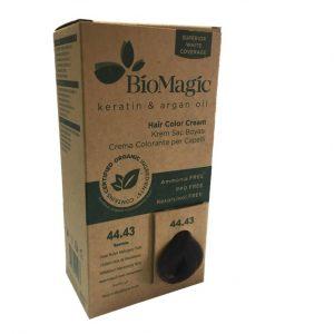 BioMagic Keratin & Argan Oil Hair Color Cream – 44.43 Deep Brown Mahogany Gold